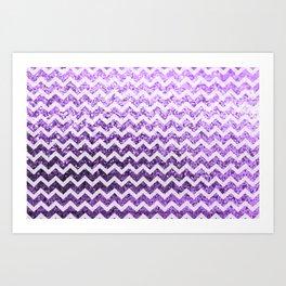 Glitter Sparkly Bling Chevron Pattern (purple) Art Print