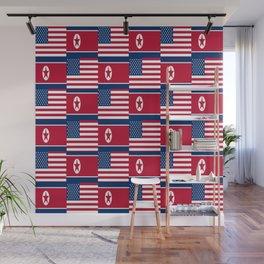 Mix of flag: USA and North Korea Wall Mural