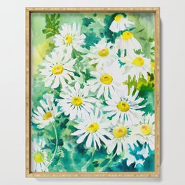 Chamomile Flowers, Herval design Field flowers wild flowers floral art Serving Tray