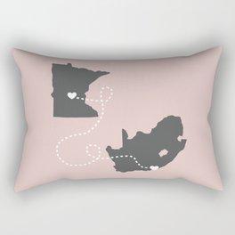 Minnesota to South Africa - Pink Rectangular Pillow