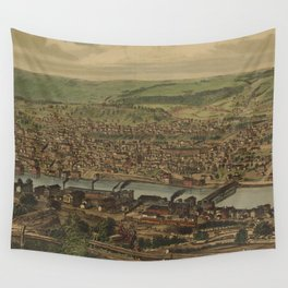 Vintage Pictorial Map of New Brighton PA (1883) Wall Tapestry
