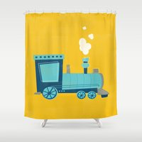 train Shower Curtains featuring Train by KatieDaugherty