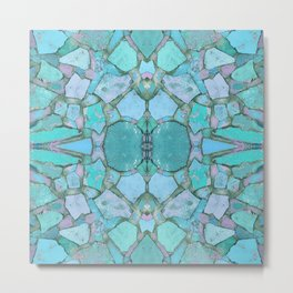 Abstract Stone Turquoise and Pink 847 Metal Print