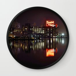 Sugar Glow feature the neon sign of the Domino Sugar factory on Baltimore Maryland's Inner Harbor Wall Clock