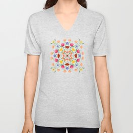 Folk Art Inspired Garden Of Fantastic Floral Delight Unisex V-Neck