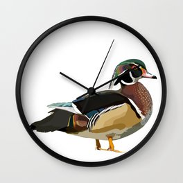 Colorful Wood Duck Illustration Wall Clock
