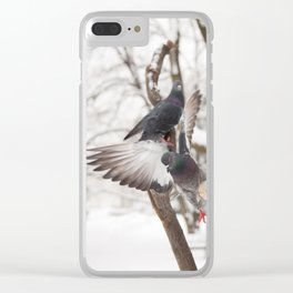pigeons sitting on bird feeder Clear iPhone Case