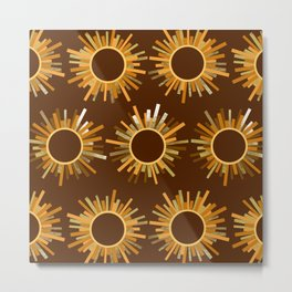 Art Deco Starburst in Brown Metal Print