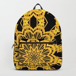 3-D Look Golden Kaleidoscopes Mandalas Flowers Backpack