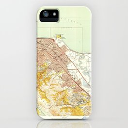 San Mateo, CA from 1949 Vintage Map - High Quality iPhone Case