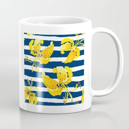 Yellow Flowers Art, Blue And White Stripes, Stripe Art, Simple Art Coffee Mug