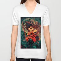 goku V-neck T-shirts featuring Kid Goku by Sirenphotos