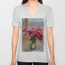 Painted Poinsettia Unisex V-Neck