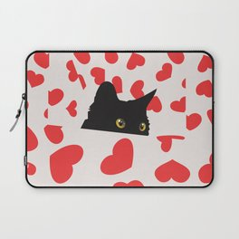 Black Cat Hiding in the Hearts Laptop Sleeve