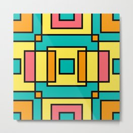 Interlocking Smmer Colours Squares Metal Print