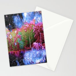 Trees Starry Night Lake Stationery Cards