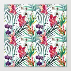 Tropical Watercolor Palm Fronds Canvas Print