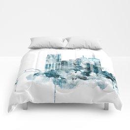 Melbourne Monochrome Blue Skyline Comforters