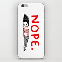 art iPhone & iPod Skins featuring Nope by gemma correll