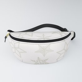 Beige Snowflakes on white background Fanny Pack
