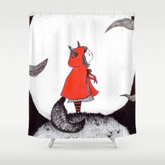 Red Riding Howl Shower Curtain