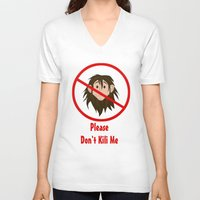 kili V-neck T-shirts featuring Please Don't Kili Me by wolfanita