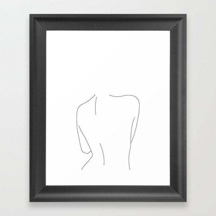 Nude back line drawing illustration - Drew Framed Art Print by ...