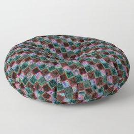 Maroon Green Multicolored Patchwork Floor Pillow