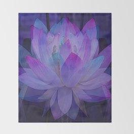The Lotus in blue... Throw Blanket