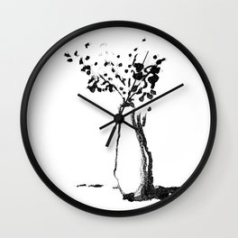 White Vase with Flowers Wall Clock