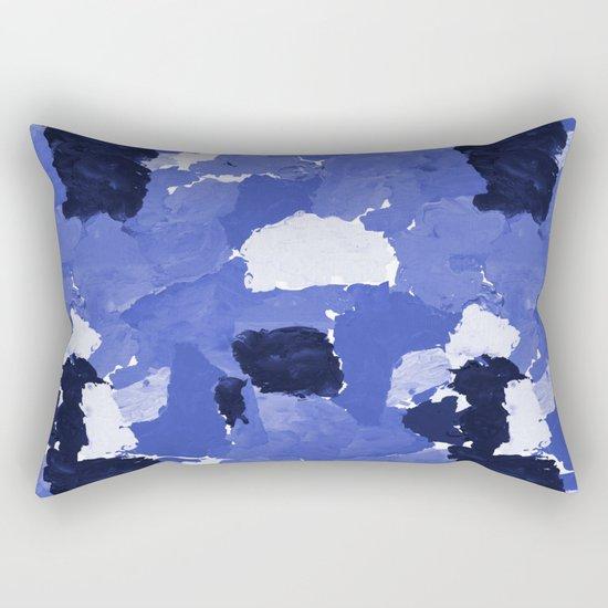 Kenni - abstract paint palette blue white navy bright modern gender neutral painting brushstrokes  Rectangular Pillow