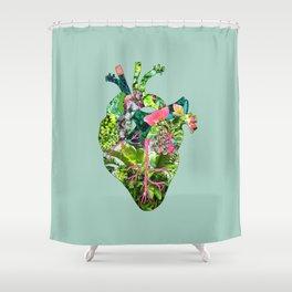 Botanical Heart Mint Shower Curtain