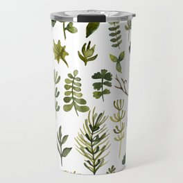 green leaf and grass watercolor pattern Travel Mug