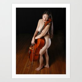 0199-JC Nude Cellist with Her Cello and Bow Naked Young Woman Musician Art Sexy Erotic Sweet Sensual Art Print