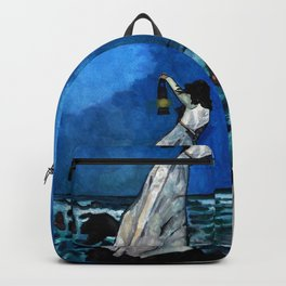 She lived almost alone in a sea of storms. Backpack