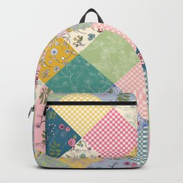 Spring cottage patchwork larger scale Backpack