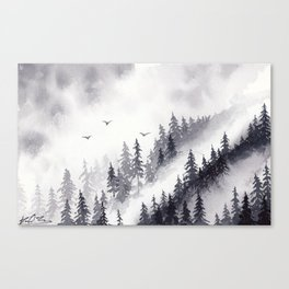 Winter misty mountain pine forst landscape watercolor painting Canvas Print
