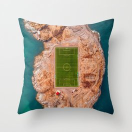Soccer Field on a Remote Island - Aerial Photography Throw Pillow