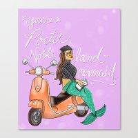 leslie knope Canvas Prints featuring Leslie Knope Compliments: Land Mermaid by Shebanimal