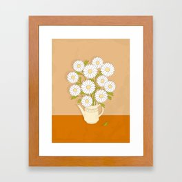 bouquet of white camomiles in the vase Framed Art Print