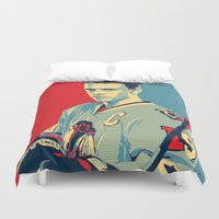 blackhawks Duvet Covers featuring Towes One Goal by Thousand Lines Ink