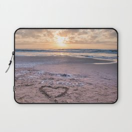 Love note Te Amo with the heart drawing on the beach at sunrise Laptop Sleeve