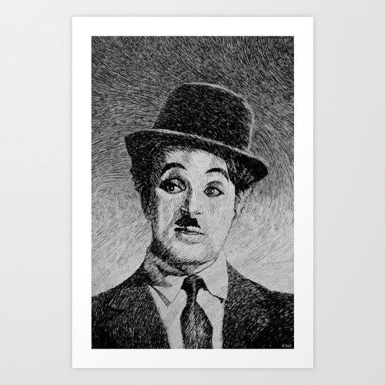 Chaplin portrait - Fingerprint Art Print