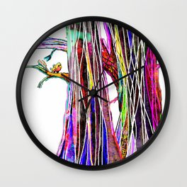 Colored woods Wall Clock