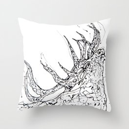 Elk  Dripped Abstract Pollock Style Throw Pillow