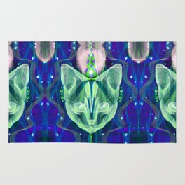 Pixel Galacticat Blue/Green Rug