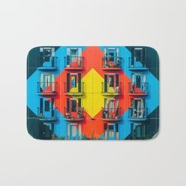 APARTMENTS - BLUE - RED - YELLOW - BALCONIES - PHOTOGRAPHY Bath Mat