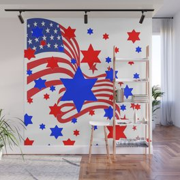 PATRIOTIC JULY 4TH AMERICAN FLAG ART Wall Mural