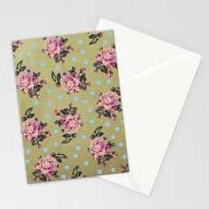 Pink Roses & Blue Dots Stationery Cards