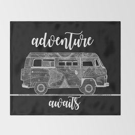 adventure awaits world map design 5 Throw Blanket